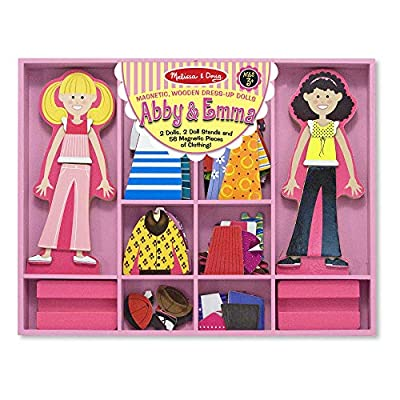 Melissa & Doug Abby and Emma Deluxe Magnetic Wooden Dress-Up Dolls Play Set (55+ pcs) by Melissa & Doug