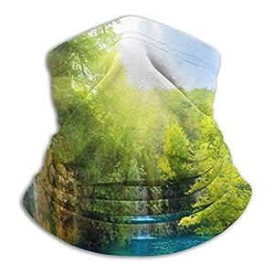 XCVD Tapiz de cascada Árboles verdes junto al río en la montaña Calentador de cuello de microfibra unisex Protector solar Diadema a prueba de viento Bufanda para exterior