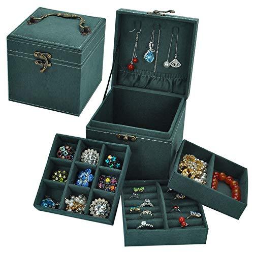 Organizador de joyas 12 x 12 x 12 cm, caja de joyería retro estilo europeo pequeña de múltiples capas de celosía caja de almacenamiento de joyería