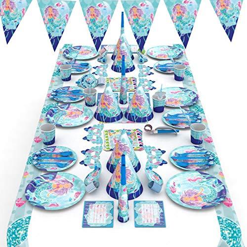 MarquisJacobs Meerjungfrau Party Set Geburtstag Geschirr Set mit Teller Gabel Löffel Messer Strohhalme Pappbecher Langer Schlag Fahnenbanner Horn Hut Augenmaske Tischdecke Serviette für Kinder