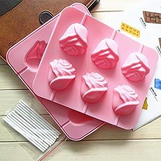 Ouken Piruleta Rosa DIY 6 moldes moldes de la Torta moldes de Pastel horneado Herramientas 3D