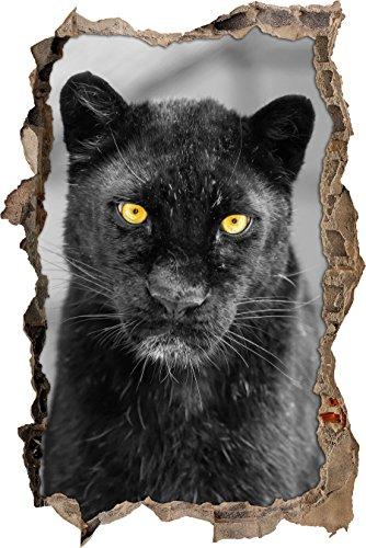 Pixxprint 3D_WD_S4761_62x42 majestätischer Panther Wanddurchbruch 3D Wandtattoo, Vinyl, schwarz / weiß, 62 x 42 x 0,02 cm