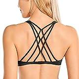 CRZ YOGA Women's Cute Yoga Sports Bra Strappy Sexy Back Padded Low Impact Workout Clothes Bra Tops Dark Grey Camouflage Medium