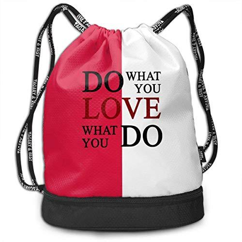 KLing Haz lo Que amas, ama lo Que Haces Mochila con cordón para Hombre y para Mujer, 100% poliéster Mochila de Paquete atlético