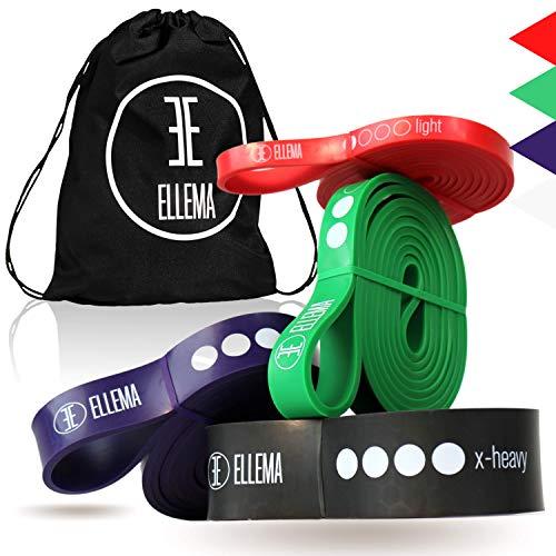 ELLEMA Fitnessbänder [online Video Training] + Gymbag (Im Set) - Widerstandsbänder aus Latex - Fitnessband für Anfänger und Profis - Resistance Bands für Calisthenics, Crossfit, als Klimmzugband