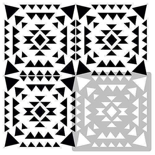 AZTECA Wiederverwendbare Kunststoff-Schablone Fliese / / Marokkanische Geometrische / / Boden Wand (25x25cm)