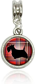Scottie Dog on Red Plaid Scottish Terrier Euro European Italian Style Bracelet Bead Charm