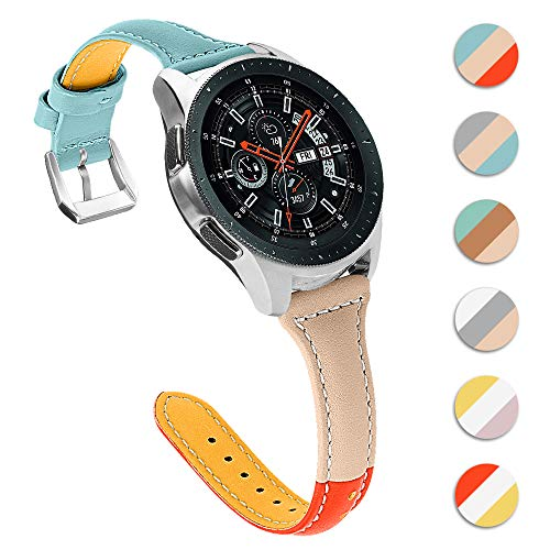 XZZTX Compatibel met voor Samsung Galaxy Watch 46mm Bands, 22mm Echt lederen vervangende horlogeband Polsband Compatibel met Galaxy Watch Active/Gear S3 Smartwatch