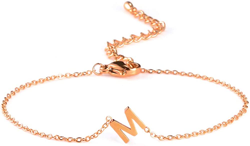 Max 45% OFF Online limited product VU100 Stainless Steel Initial Letter Bracelets Women Girls for G