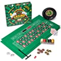 Casino Game Night | 4-in-1 Gambling Game Set | Texas Hold 'Em, Blackjack, Roulette, and Craps | Includes Roulette Wheel, 2 Double-sided Mini Felts, 100 Poker Chips, Craps Dice, Playing Cards, and More