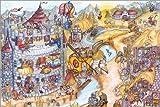 Poster 60 x 40 cm: Mittelalter Wimmelbild für Kinder von