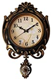 Sapphire Quartz Antique Designer Pendulum Analogue Wall Clock (Golden)