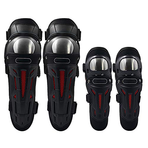 IQQI Movable Knee Shin Guard Pads,Three Sections Breathable Adjustable Full Season Knee Cap Pads Protector Armor for Motorcycle Cycling Racing,Black