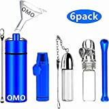 OMO Snuff Bullet Kit(6 pack) Snuff Bottle with spoon(Blue) Metal Snuff Bullet(Blue) Glass Sniffer tool(White) Bottle spoon necklace(White) Nasal suction tube(Blue) Mini funnel