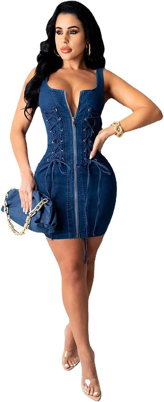 Euone_Clothes Womens Summer Dress, Women's Sexy Solid Color High Waist Strappy Zipper Open Back Denim Hip Dress