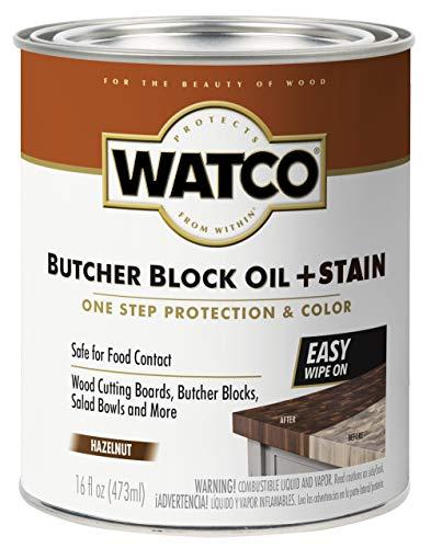 Watco 359024 Butcher Block Oil Plus Stain, 16 oz, Hazelnut
