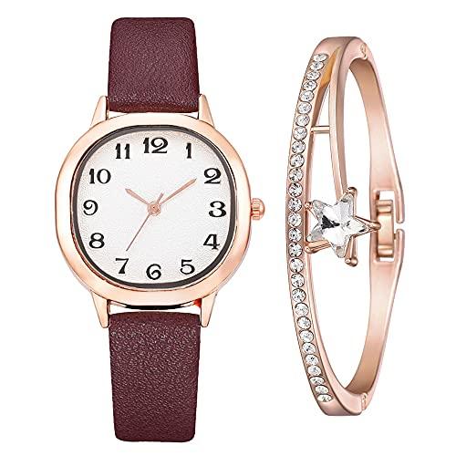 YIBOKANG Reloj Impermeable De Esquina Redonda Cuadrada Clásica De Moda para Mujer De 2 Piezas con Juego De Pulsera De 1 Estrella, Juego De Reloj De Pulsera Estudiante