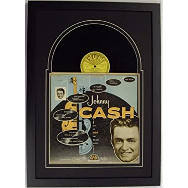 Record Album Frame Featuring Black  Juke Box  Mat Design and a Solid Wood Black Frame