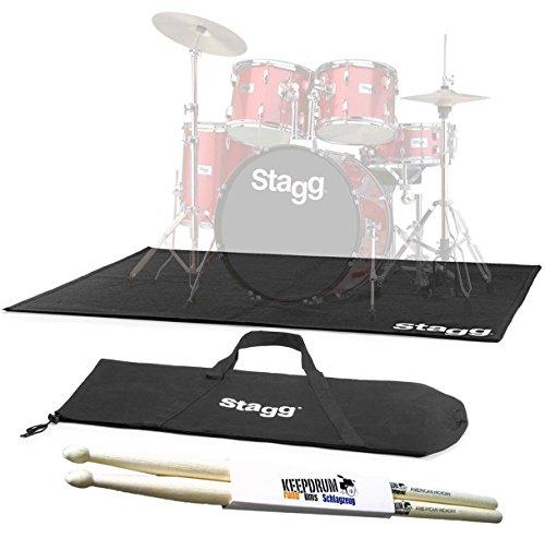 Stagg SCADRU2016 Schlagzeug-Teppich 200 x 160cm mit Tasche + keepdrum Drumsticks