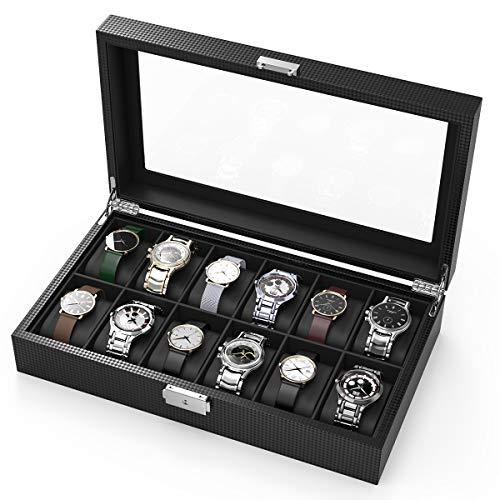 CRITIRON Uhrenbox aus Kohlefaser für 12 Uhren Aufbewahrung Uhrenkoffer Uhrenkasten Uhrenvitrine Schmuckkästchen Schwarz