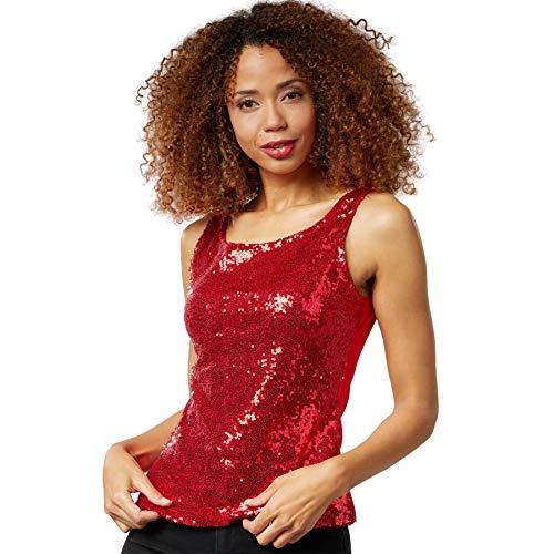 dressforfun 901014 Damen Pailletten Top, Glitzer Sparkle Trägershirt, rot - Diverse Größen - (XL   Nr. 303764)