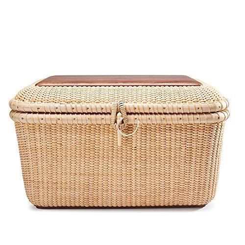 Teng Tian Basket Nantucket Basket Basket Tea Fruit Basket Handicraft Storage Basket Desktop Organizer Woven Rattan Handwoven rattanStorage Basket Set with Lid for Shelves and Home Organizer Bins