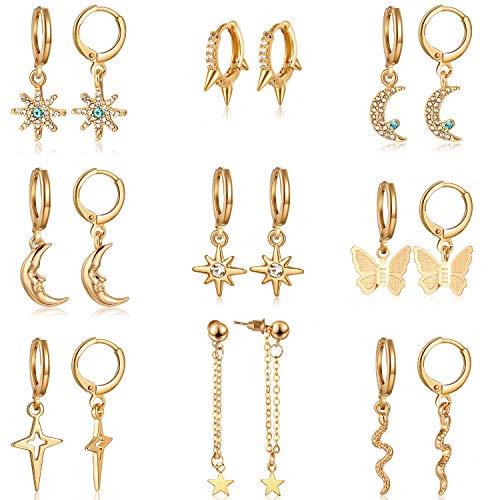 9 Pairs Small Hoop Earring with Charms Huggie Hoop Dangle Earrings Drop Pendant Hoop Earrings for Women (Gold)