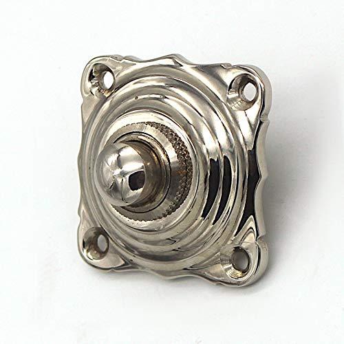 Antik Türklingel, N9201, aus Messing vernickelt und hochglanz poliert, mit Klingeltaster - handgefertigt nach antiken Vorlagen