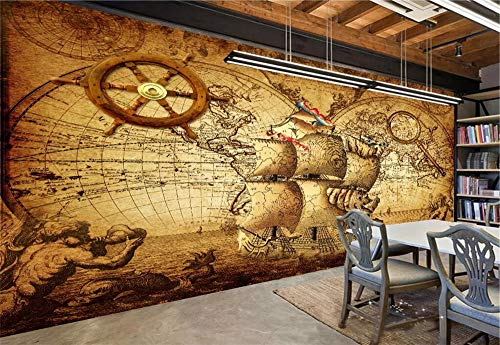 Fototapete 3D Tapeten Wandbild Vintage Nautische Weltkarte Foto Tapete Wandtapete Vliestapete Wandbilder XXL Wanddeko