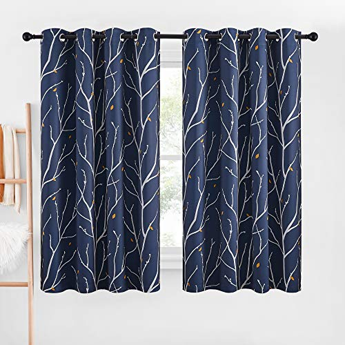 NICETOWN Room Darkening Curtains for Bedroom, Grommet Natural Branch Pattern with Flower Petals Romantic Thermal Insulated Window Treatments Vertical Blinds for Nursery, Navy Blue, W52 x L63, 1 Pair