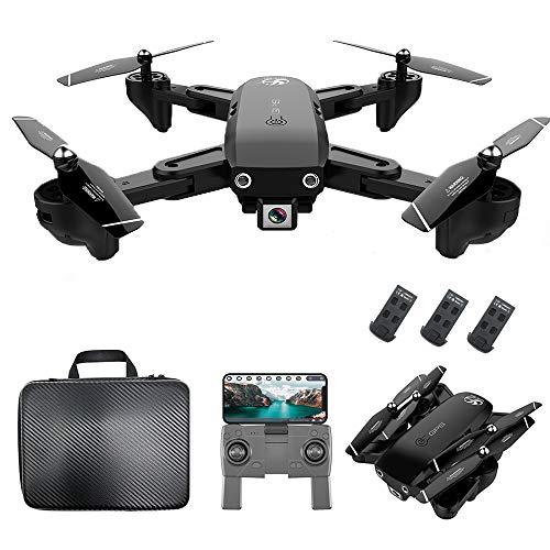 Mobiliarbus RC Drone CSJ S166GPS con cámara 720P Sígueme Regreso automático Inicio WiFi FPV Video en Vivo Gesto Fotos Cuadricóptero RC para Adultos Principiantes con Bolso de 3 baterías
