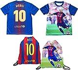 Lionel Messi - Camiseta de manga corta ligera y transpirable, diseño de camiseta para niños, tallas juveniles, mochila de fútbol, paquete de regalo