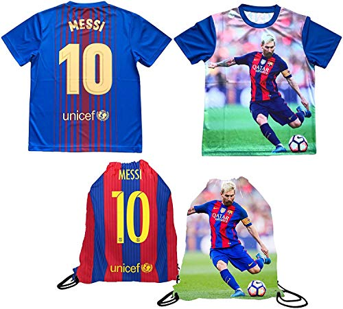 Messi Jersey Style T-shirt Kids Lionel Messi Jersey Picture T-shirt Gift Set Youth Sizes  Premium Quality   Soccer Backpack Gift Packaging (YS 6-8 Years Old, Messi)