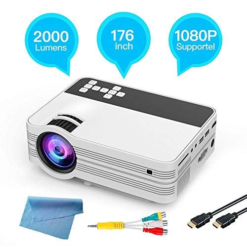 Home theater projector 2000 lumen Full HD LED 3D home theater projector 1920 * 1080 176 lijnen LCD Digital Video HDMI theater beamer voor PC MAC DVD TV Xbox films games smartphone, EU.
