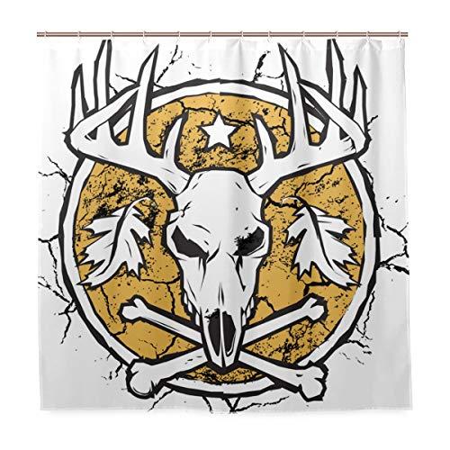 KIMDFACE Duschvorhang 122x183cm,Jäger Dry Earth Emblem,Schimmelresistenter Wasserabweisend Shower