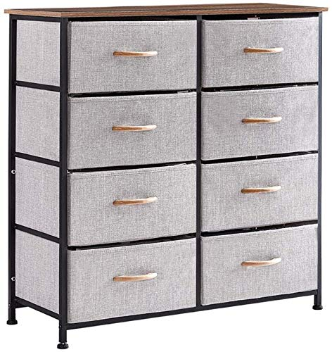 Cplxroc Dresser with 8 Drawers Breathable Fabric Linen Storage Organizer Clothes with Sturdy Steel Frame Wooden Tabletop Easy Pull Fabric Bins Organizer Unit for Bedroom Hallway Entryway Closets Grey
