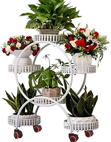 Soporte para plantas / Puesto de flores con freno de rueda jardín del metal Estante de almacenamiento de 6 Planta Macetas titular Balcón Decoración Estante for jardín Patio Balcón Sala de estar / mace
