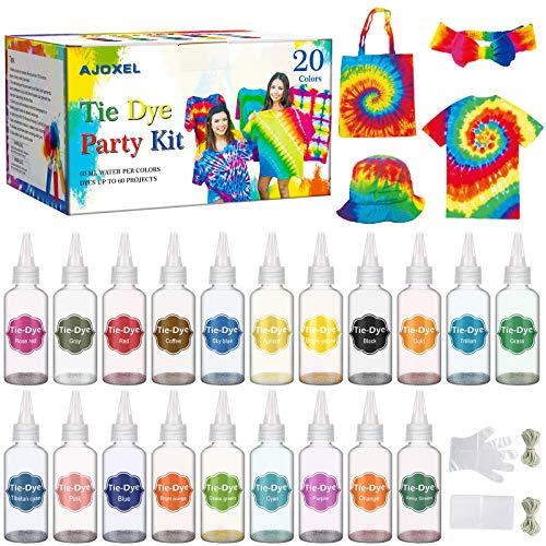 AJOXEL Tintes para Ropa, 20 Coloresx60ml Pinturas Textiles Permanentes Tie Dye Kit,...