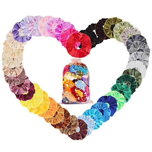 Velvet Elástico Hair Scrunchies 50 Colores Xpassion Scrunchie de Pelo Banda de Pelo de Flor de Gasa Coletero Elástico Lazos Terciopelo Accesorios Para El Cabello Ponytail Titular para Mujeres y Chicas