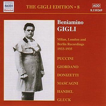 Gigli, Beniamino: Gigli Edition, Vol.  8: Milan, London and Berlin Recordings (1933-1935)