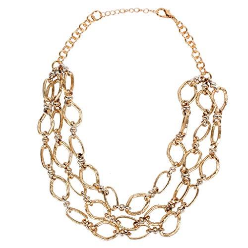 YJPDPYSH Metalen meerlagige ketting overdreven oorbellen, Europese en Amerikaanse mode-merk sieraden, lange trui ketting ketting vrouwen