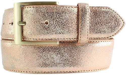 Goldener Gürtel in Metall-Optik 4 cm | Leder-Gürtel Metallic-Look 40mm | Metall-Ledergürtel in Gold | Roségold 90cm