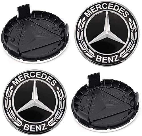 Para Mercedes-Benz, 4 piezas 75 mm cubierta de cubo de coche cubierta central, adecuado para Mercedes-Benz (negro) (Color: Negro-BZ)