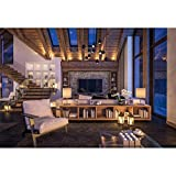 Yeele 7x5ft Cozy Wooden Living Room Backdrop Villa Chalet Fireplace Night Living Room Photography Background Loft Apartment Attic Design Video Conference Photoshoot Studio Props