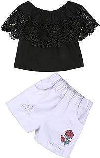 Hooyi Vestido Verano para Niñas Camiseta Encaje de Hombros Descubiertos Vaqueros Cortos Rosa Impresión