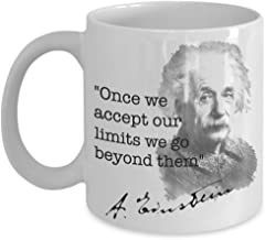 Einstein Quote Mug With Picture/Once we Accept our limits we go beyond them/Novelty White Ceramic 15oz Tea Cup Unique Gift for Physics Einstein Enthusiasts/TopStyle