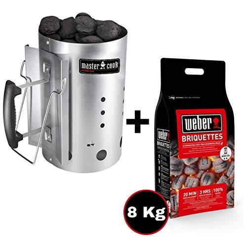 MasterCook - Kit Accenditore Barbecue + Bricchetti 5 kg Omaggio - Impugnatura di Sicurezza in Alluminio - Kit ciminiera, accenditore 30 x 19 cm, Diametro Circa 19 cm, capienza Oltre 1,5 kg