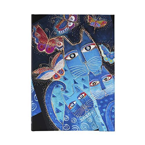 Paperblanks 12-Monatskalender 2020 | Katzen in blau mit Schmetterlingen |Vertikal |...