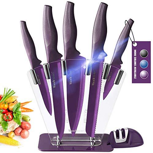 Wanbasion Negro 7 Piezas Juego de Cuchillos de Cocina Profes