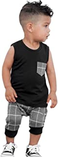 Sunnywill Baby Bekleidung Baby Jungen Mädchen Plaid Tops T-Shirt Weste Shorts Outfits Kleidung Set